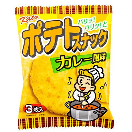 (야)가 것이 제과 포테이토 스낵 카레 향3매 【신상품 7/13 발매】【이번 달의 특매 과자】 x 20